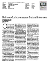 Bail-out doubts unnerve Ireland investors