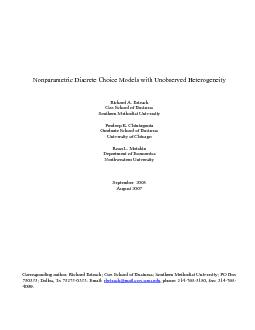 Nonparametric Discrete Choice ModeRichard A. Briesch University of Chi