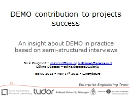 DEMO contribution to projects success