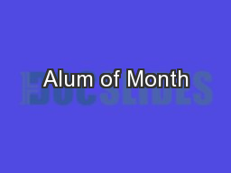 Alum of Month