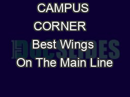 CAMPUS CORNER   Best Wings On The Main Line PDF document - DocSlides