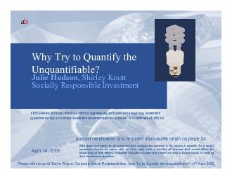 Please refer to our Q-Series Report: Corporate Social Responsibilities