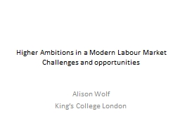 Higher Ambitions in a Modern Labour Market