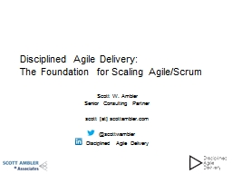 Disciplined Agile Delivery: