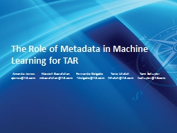 The Role of Metadata in Machine