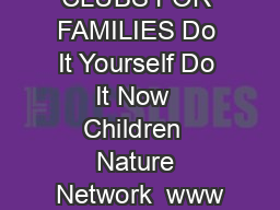 NATURE CLUBS FOR FAMILIES Do It Yourself Do It Now  Children  Nature Network  www