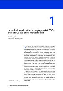 Unscathed securitisation:emerging market CDOsafter the US sub-prime mo