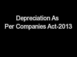 Depreciation As Per Companies Act-2013