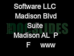 QCoherent Software LLC  Madison Blvd Suite  Madison AL  P     F     www