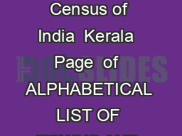 List of towns Census of India  Kerala  Page  of  ALPHABETICAL LIST OF TOWNS AND