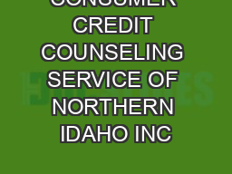 CONSUMER CREDIT COUNSELING SERVICE OF NORTHERN IDAHO INC