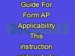 FormAPINSTRWCAG  CPA Certication Program Information  Instruction Guide For Form AP Applicability This instruction guide is to be used by individuals who have an interest in registering under or obta