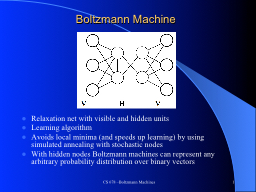 CS 678 –Boltzmann Machines