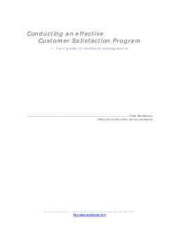 Conducting an effective Customer Satisfaction Program  Your guide to feedback management PDF document - DocSlides