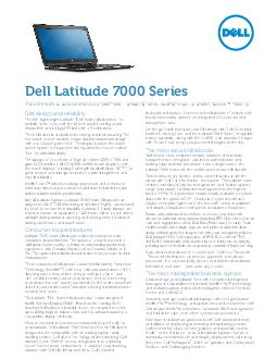 Elite design and reliability The thin lightweight Latitude  Series Ultrabooks oer mobility at its nest with the inch model starting at just mm thin and