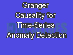 Granger Causality for Time-Series Anomaly Detection