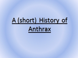A (short) History of Anthrax