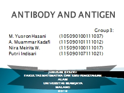 ANTIBODY AND ANTIGEN PowerPoint PPT Presentation