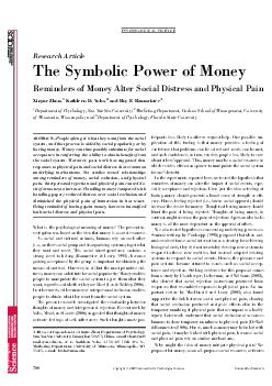 Research Article The Symbolic Power of Money Reminders of Money Alter Social Dis PDF document - DocSlides