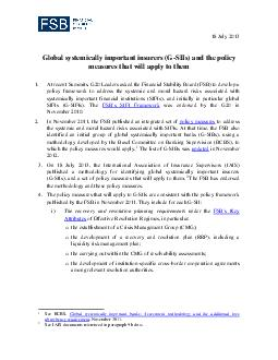 July  lobal systemically important insurers G SIIs and the policy measures that will apply to them PDF document - DocSlides