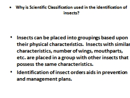 Why is Scientific Classification used in the identification