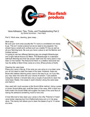 Vane Adhesion: Tips, Tricks, and Troubleshooting Part 2Part 2: Work ar
