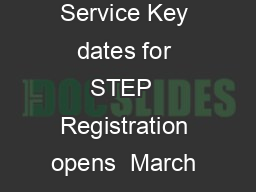 Guide for students  Admissions Testing Service Key dates for STEP  Registration opens  March Modified paper requests e