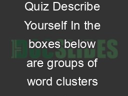 True Colors Personality Quiz Describe Yourself In the boxes below are groups of word clusters printed horizontally in rows PDF document - DocSlides
