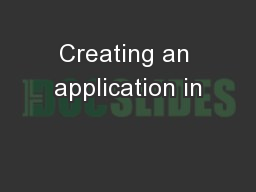 Creating an application in
