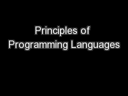 Principles of Programming Languages PowerPoint PPT Presentation