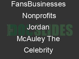 The Celebrity Black Book  Over  Accurate Celebrity Addresses for FansBusinesses  Nonprofits Jordan McAuley The Celebrity Black Book contains the best celebrity addresses and celebrity contact informa PDF document - DocSlides