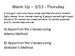 Warm Up – 3/13 - Thursday