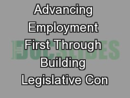 Advancing Employment First Through Building Legislative Con