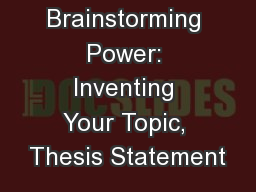 power thesis statements An effective thesis statement presents the main idea of a paper  checks and  balances should be revised because the supreme court wields too much power.