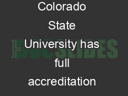 The Graduate Program in Counseling Psychology at Colorado State University has full accreditation from the American Psychological Association PDF document - DocSlides