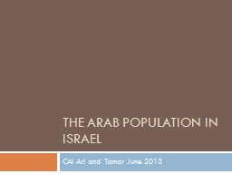 The Arab population in Israel PowerPoint PPT Presentation