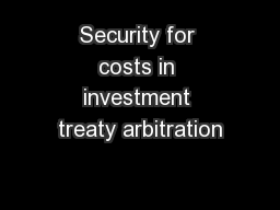 Security for costs in investment treaty arbitration