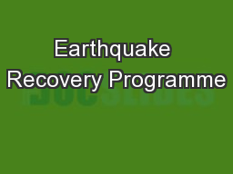 Earthquake Recovery Programme