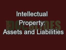 Intellectual Property: Assets and Liabilities