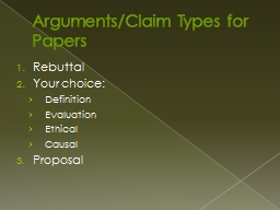 Arguments/Claim Types for Papers