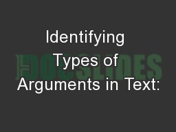 Identifying Types of Arguments in Text: