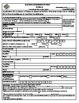 FORM 6RM 6()  Application for inclusion of name in electoral roll To T