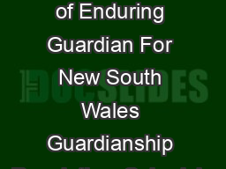 Appointment of Enduring Guardian For New South Wales Guardianship Regulation  Schedule