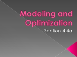 Modeling and Optimization PowerPoint PPT Presentation