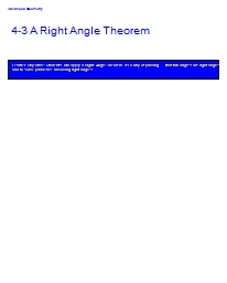 4-3 A Right Angle Theorem