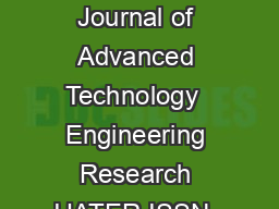 International Journal of Advanced Technology  Engineering Research IJATER ISSN   PDF document - DocSlides