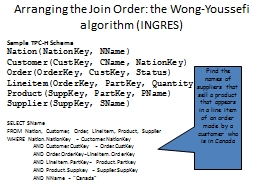 Arranging the Join Order: the Wong-Youssefi algorithm (INGR PowerPoint PPT Presentation