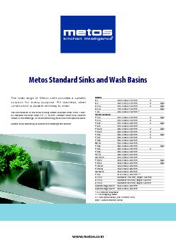www.metos.comThe wide range of Metos sinks provides a suitable  ...