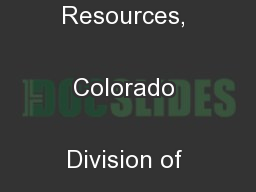 Department of Natural Resources, Colorado Division of Wildlife ( ...