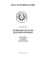 POLL WATCHER'S GUIDEIssued by the  SECRETARY OF STATEELECTIONS DI